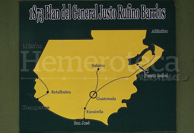 El plan original que proyectó Justo Rufino Barrios para la red ferroviaria, logrando realizar el circuito entre Guatemala y el Puerto de San José y el de Retalhuleu y Champerico. (Foto: Hemeroteca PL)