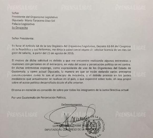 Carta enviada por el diputado Luis Rabbé al Congreso. (Foto Prensa Libre: Hemeroteca PL)