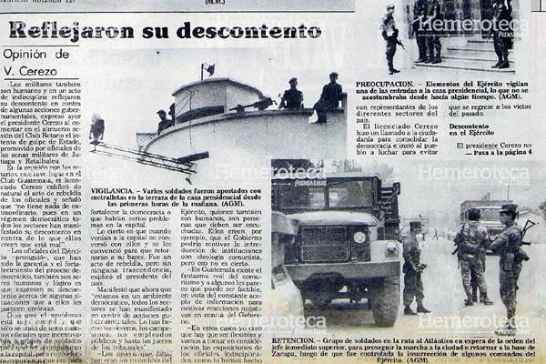 Nota de Prensa Libre del 12 de mayo de 1988 sobre intento de golpe. (Foto: Hemeroteca PL)