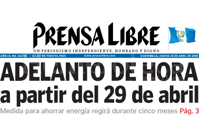 Titular de Prensa Libre del 20 de abril de 2006. (Foto: Hemeroteca PL)