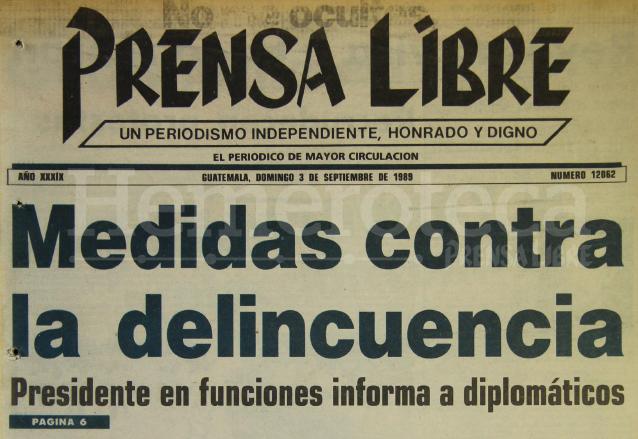 Titular de Prensa Libre del 3 de septiembre de 1989. (Foto: Hemeroteca PL)