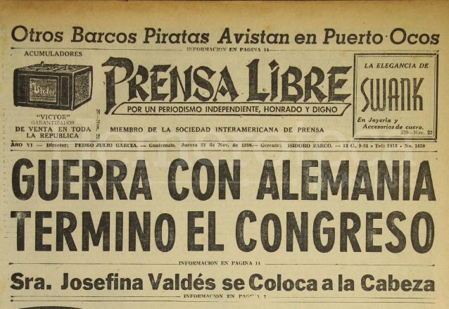 Titular de Prensa Libre del 22 de noviembre de 1956. (Foto: Hemeroteca PL)