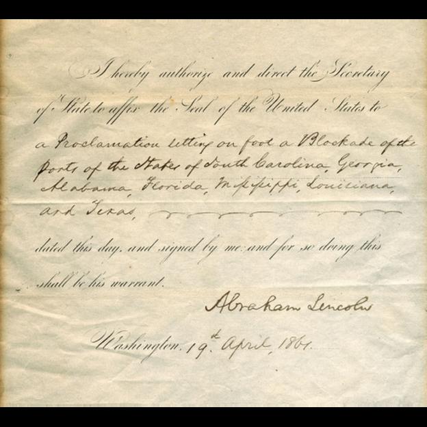 El documento firmado por el expresidente Abraham Lincoln en el cual se da comienzo a la Guerra Civil en Estados Unidos y se ordena bloquear a la Confederación en 1861 se vende a US$1.000.000. RAAB COLLECTION