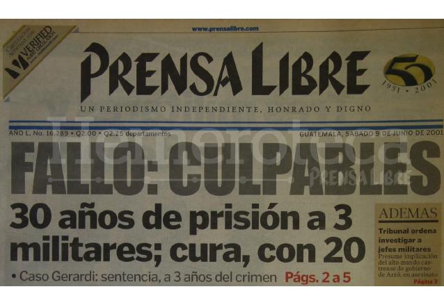 Titular de Prensa Libre del 9 de junio de 2001. (Foto: Hemeroteca PL)