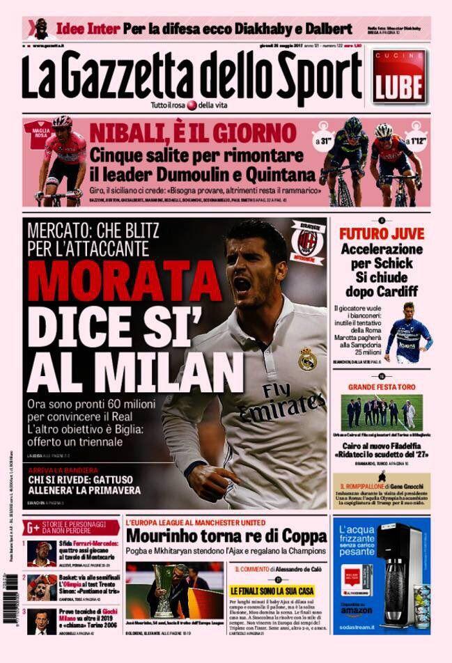 Esta es la portada de uno de los principales diarios de Italia. (Foto Prensa Libre: Twitter)