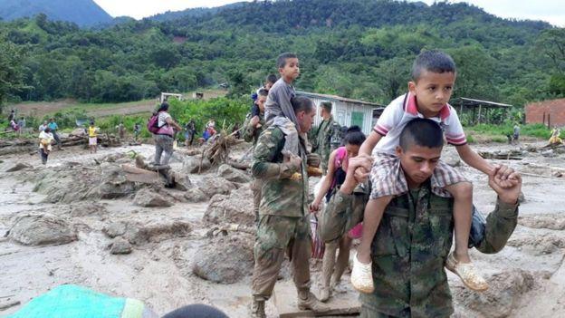 Los ríos que se desbordaron después de una jornada de intensas lluvias fueron el Mocoa, el Mulato y el Sangoyaco. EPA/EJÉRCITO DE COLOMBIA