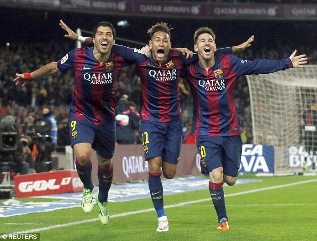 Luis Suárez, Neymar y Lionel Messi conforman el tridente de ataque del FC Barcelona. (Foto Prensa Libre: Hemeroteca)