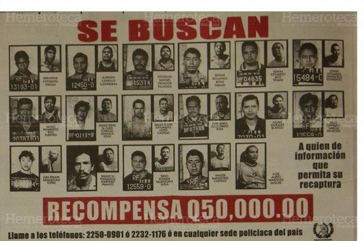 Ministerio de Gobernación ofrecía recompensa para poder lograr la recaptura de los 19 fugados de la cárcel El Infiernito. 23/10/2005. (Foto: Hemeroteca PL)