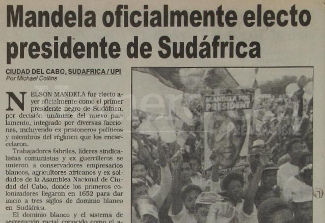 Nota de Prensa Libre del 10 de mayo de 1994 informando sobre la elección de Nelson Mandela como presidente sudafricano. (Foto: Hemeroteca PL)