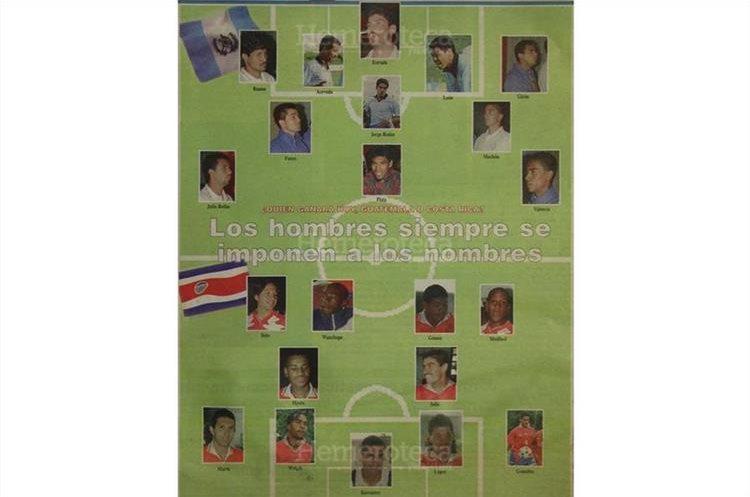 La nómina de seleccionados  de Guatemala y Costa Rica quienes se enfrentarían el 16 de octubre 1996 para asistir al Mundial Francia 98. (Foto Hemeroteca PL)