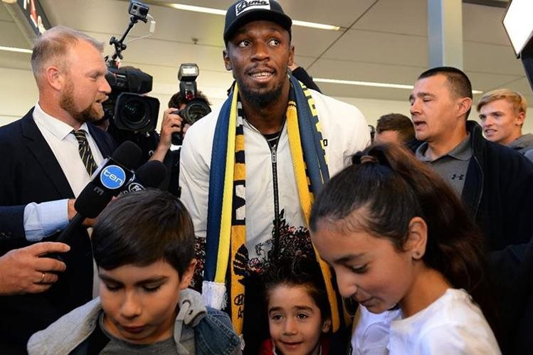 Usain Bolt, Ancient Soldier and Olympic Medal, arrived in Australia to play for the Central Coast Mariners. (Photo Prensa Libre: AFP).