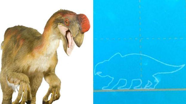 Una representación gráfica del oviraptor (izq.) y la señalización incorrecta del museo (der). MUSEO NACIONAL DE HISTORIA DE LONDRES/FAMILIA