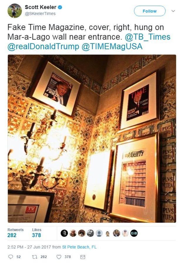La portada falsa de Time en las propiedades de Trump en Mar-a-Lago. SKEELERTIMES