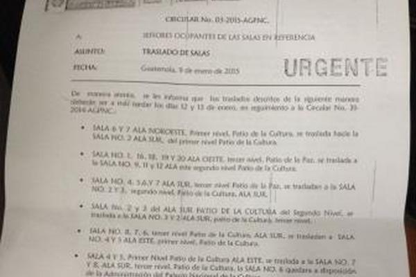 Prensa Libre tuvo acceso a la notificación del traslado recibida por la Marimba de Concierto