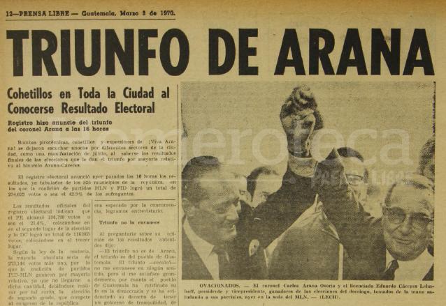 Nota periodística informando de la elección presidencial de Carlos Arana Osorio el 3 de marzo de 1970. (Foto: Hemeroteca PL)