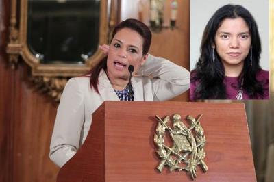 Soledad Barrios —inserta— es la nueva secretaria privada de Baldetti. (Foto Prensa Libre)