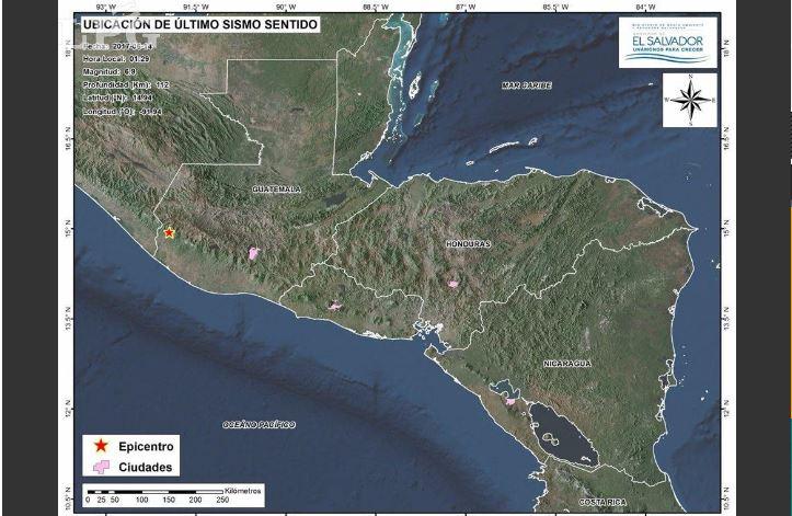 Ubicación de los sismos, según el Ministerio del Medio Ambiente y Recursos Naturales salvadoreño.