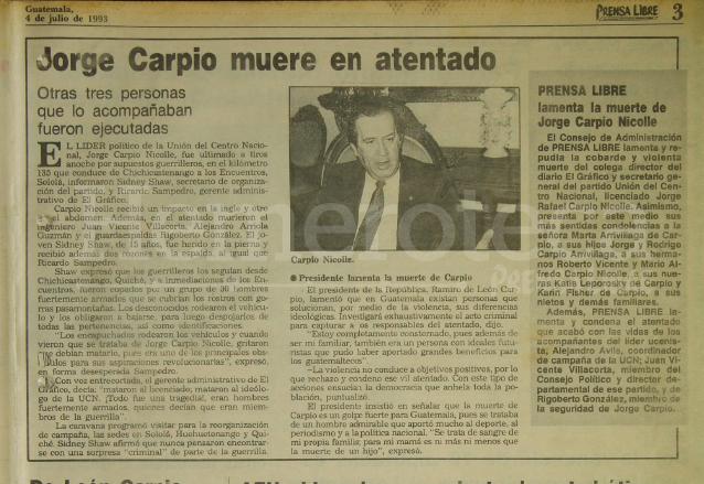 Nota de Prensa Libre del 4 de julio de 1993 informando sobre el asesinato del líder político Jorge Carpio. (Foto: Hemeroteca PL)