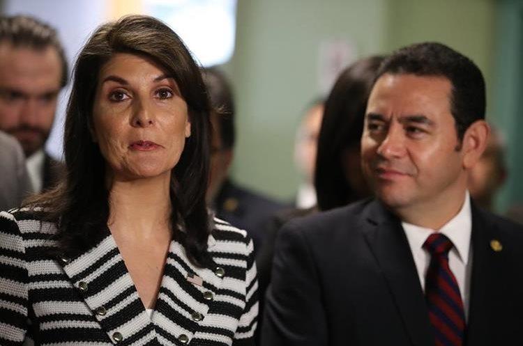 Nikky Haley de visita en Guatemala, donde conversó con el presidente Jimmy Morales. (Foto Prensa Libre: Hemeroteca PL)