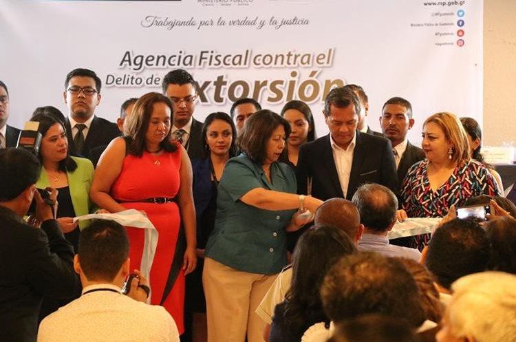 Acto de inauguracion de la Fiscalía Especial contra las Extorsiones, en la cabecera de Jutiapa. (Foto Prensa Libre: Hugo Oliva)