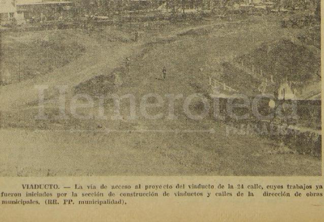 Foto del 19 de enero de 1970 cuando iniciaron los trabajos del viaducto de la 24 calle. (Foto: Hemeroteca PL)
