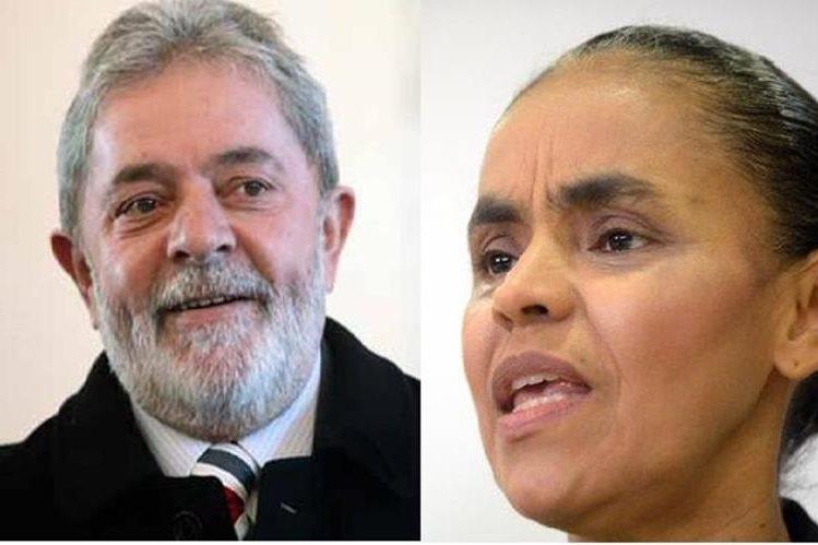 Luiz Inácio Lula da Silva y Marina Silva ocupan los primeros lugares en la encuesta. (AFP).