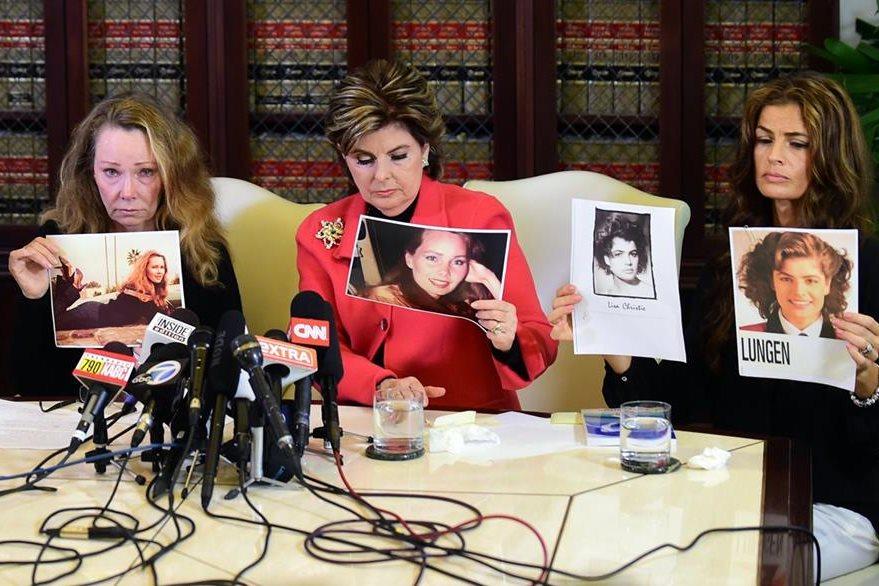 Sharon Van Ert, Allred y Lisa Christie denunciaron al actor en una conferencia de prensa. (Foto Prensa Libre: AFP)