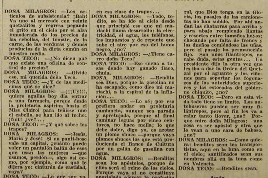 Texto de la conversación irónica de dos señoras sobre la realidad nacional en 1976. (Foto: Hemeroteca PL)