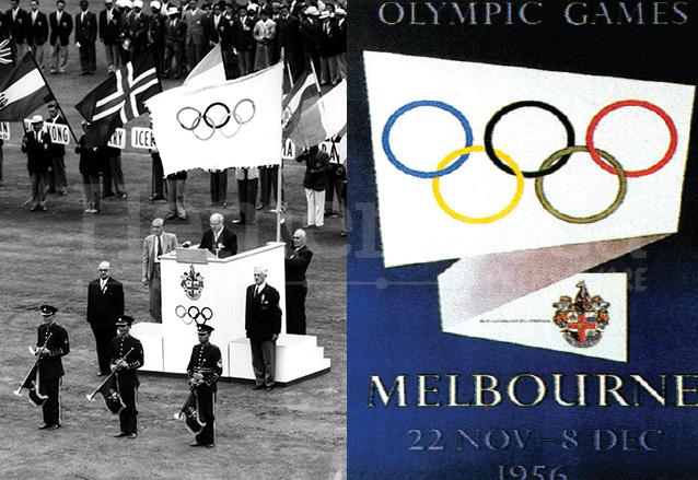 Inauguración de los Juegos Olímpicos de Melbourne 1956 y afiche oficial. (Foto: Hemeroteca PL)