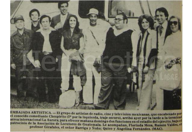 El elenco de Chespirito cuando visitó Guatemala el 3 de noviembre de 1978. (Foto: Hemeroteca PL)