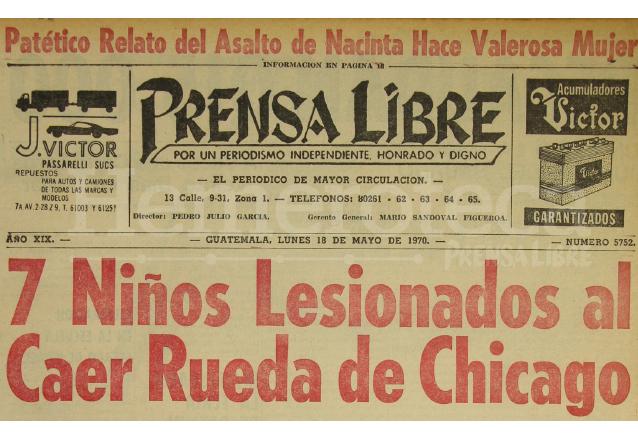 Portada de Prensa Libre del 18 de mayo de 1970. (Foto: Hemeroteca PL)