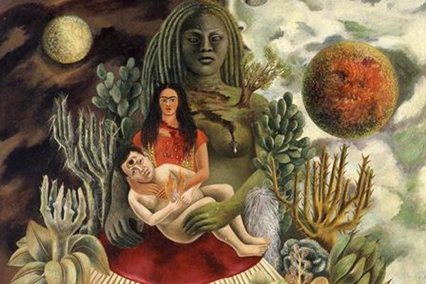 <p>Fotografía de la obra de Frida Kahlo titulada <em>El abrazo de amor del universo.</em><br></p>