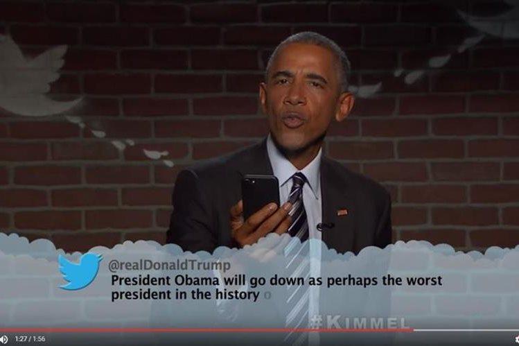 Captura de pantalla del video en el que Obama responde a Trump sarcásticamente. (Foto YouTube/Jimmy Kimmel Live).