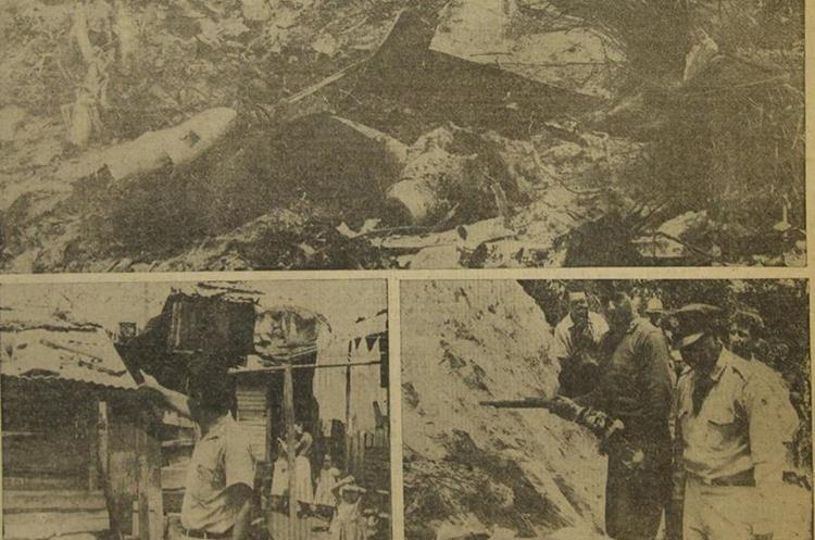 Restos del avión Mustang que se estrelló cerca del puente Belice, en el barranco de Las Vacas 20/6/1959. (Foto: Hemeroteca PL)