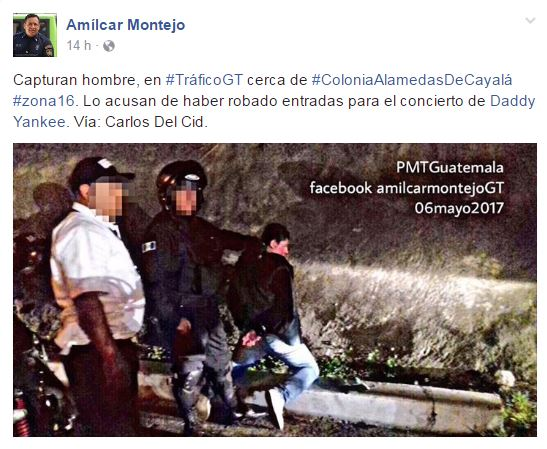 Hombre es retenido por agentes de la PNC por ser sospecho de robarse entradas para el concierto (Foto Prensa Libre: Facebook Amilcar Montejo)