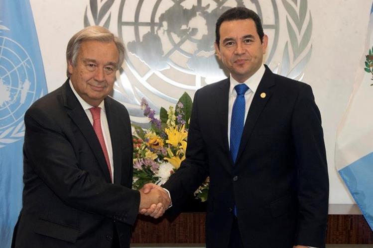 El presidente Jimmy Morales se reunió el 25 de agosto con el secretario general de Naciones Unidas a quien le presentó sus quejas sobre Iván Velásquez. (Foto Prensa Libre: Hemeroteca PL)
