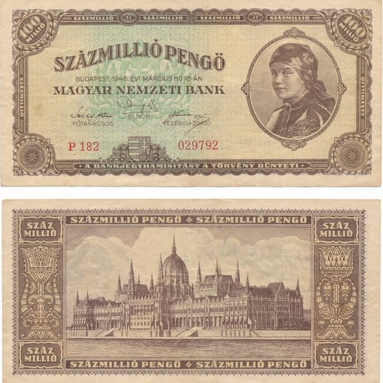 100 millones de pengős húngaros tenían un valor mínimo en 1946. GETTY IMAGES