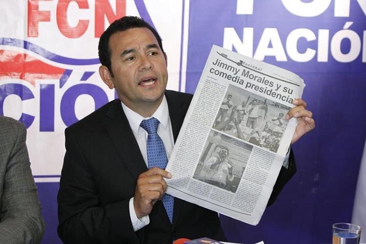 Presidenciable de FCN Jimmy Morales denuncia campaña negra e intimidaciones. (Foto Prensa Libre: Paulo Raquec)