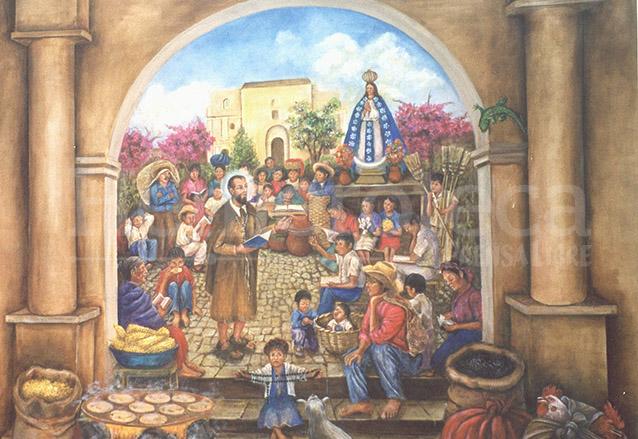 Mural representando al Hermano Pedro durante las fiestas de Concepción, pintado por Rosa María de Gámez y se ubica en la iglesia de San Pedro de Antigua. (Foto: Hemeroteca PL)