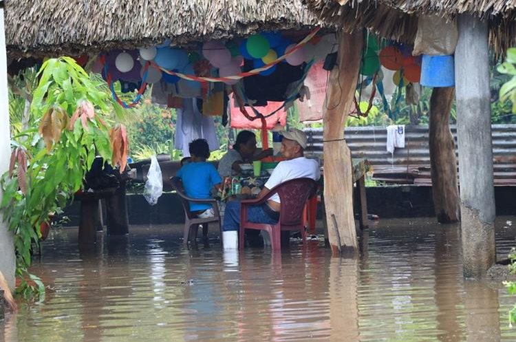 Una familia de Wiscoyol, Iztapa, se resigna a vivir entre el agua, producto de las inundaciones. (Foto Prensa Libre: Carlos Paredes)