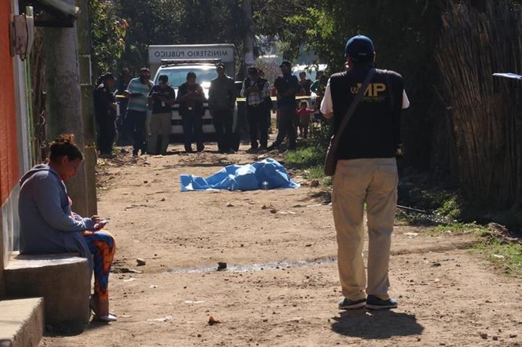 Lugar donde murió baleado Humberto Hernández Asturias, en Chimaltenango. (Foto Prensa Libre).