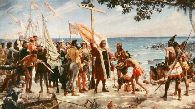La llegada de Colón a América ha sido romantizada en varias pinturas. AFP