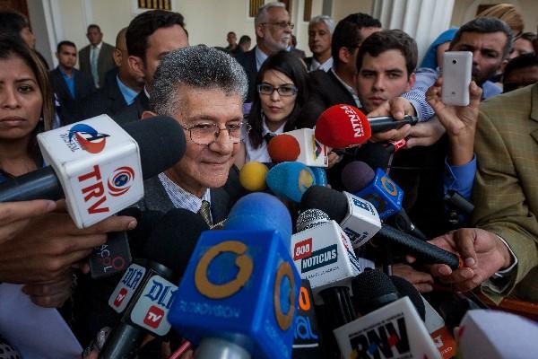Henry Ramos Allup, presidente de la Asamblea Nacional ofrece declaraciones a la Prensa.
