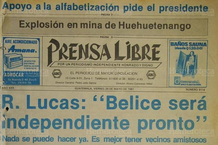 Portada de Prensa Libre del 29/05/1981, con la postura oficial de Belice. (Foto: Hemeroteca PL)