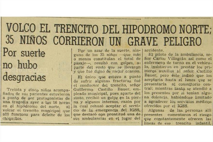 27/06/1955  El tren infantil del Hipódromo del Norte vuelca tras descarrilarse. (Foto: Hemeroteca PL)