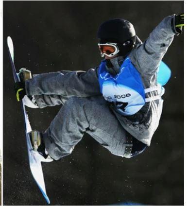 Imai Melo cuando practicó el snowbord. (Foto tomada de internet)