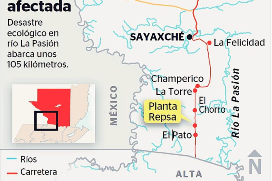 Mapa del área afectada por la muerte de peces en el río La Pasión, en Petén. (Infografía Prensa Libre: Rosana Rojas)