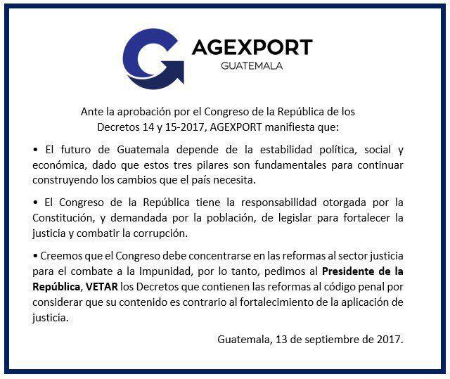 Comunicado de la Agexport en rechazo a la alianza de diputados para reformar el Código Penal. (Foto Prensa Libre: Agexport).