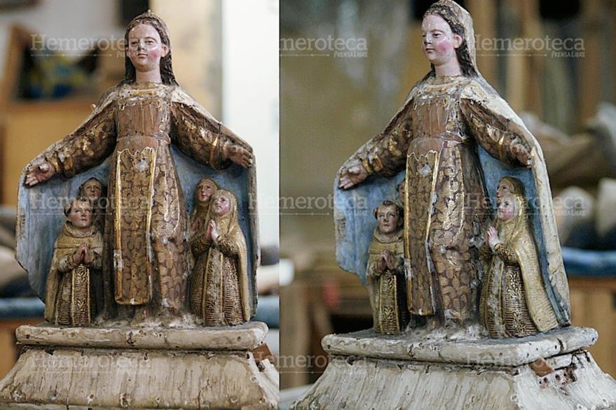 Así luce la Virgen del Carmen del Cerrito sin sus ropajes de plata, como la mandó a hacer Santa Teresa en el siglo XVI, las fotos son de su proceso de restauración en 2003. (Foto: Hemeroteca PL)