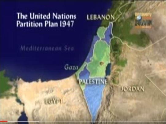 Mapa del área disputada por judíos y palestinos. De verde las áreas que la ONU asignó a Palestina y de azul a Israel. (Foto: Youtube).